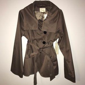 Brown Peacoat Wrap Jacket